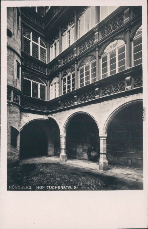 Ansichtskarte Nürnberg Hof in der Tucherstraße 21 1929