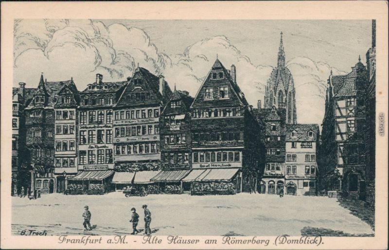 Ansichtskarte Frankfurt am Main Alte Häuser am Römerberg 1928
