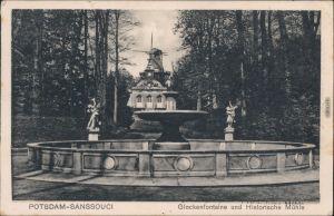 Ansichtskarte Potsdam Sanssouci Glockenfontaine und historische Mühle 1933