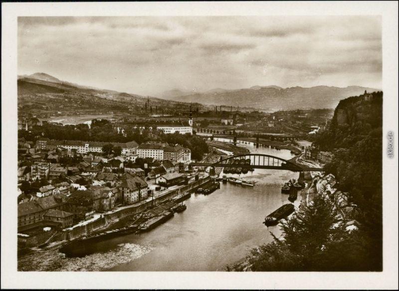 Ansichtskarte Tetschen-Bodenbach Decín Blick auf die Stadt 1934