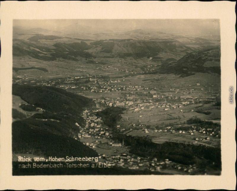 Tetschen-Bodenbach Decín  Schneeberg auf die Stadt 1934 Privatfoto