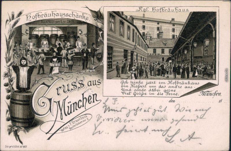 Litho AK  München Kgl. Hofbräuhaus, Hofbräuhausschänke 1899