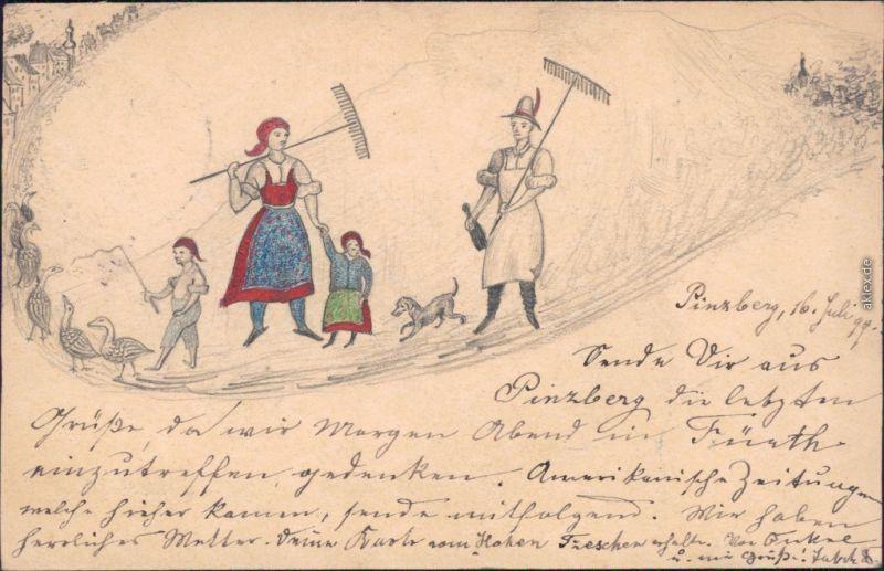 Ansichtskarte  Berufe /Arbeit: Bauern - Königreich Bayern 1900