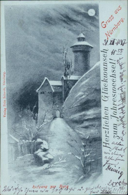 Ansichtskarte Nürnberg Nürnberger Burg - Aufgang zur Burg 1898