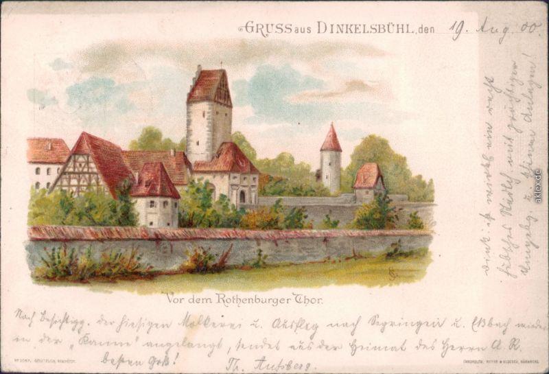 Ansichtskarte Dinkelsbühl vor dem Rothenburger Tor 1900