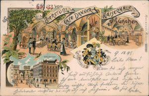 Litho Ansichtskarte München Café Danner, Bierstübl, Kaiserhalle 1899