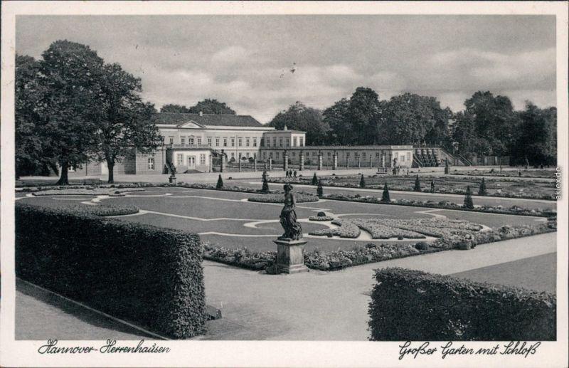 Ansichtskarte Herrenhausen-Hannover Großer Garten mit Schloß 1938