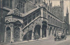Ansichtskarte Lübeck Rathaus mit Renaissancetreppe 1924
