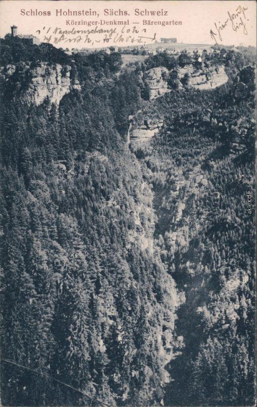 Hohnstein (Sächs. Schweiz) Burg Hohnstein, Körzinger-Denkmal, Bärengarten 1919