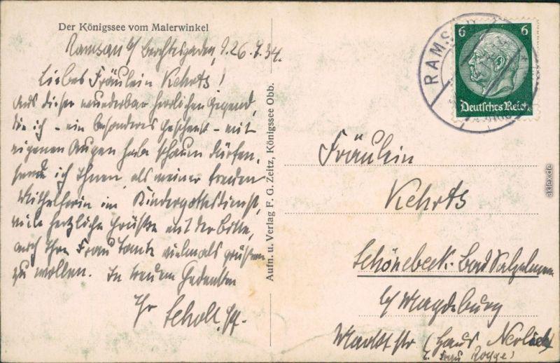 Ansichtskarte Schönau am Königssee Königssee vom Malerwinkel 1934 1