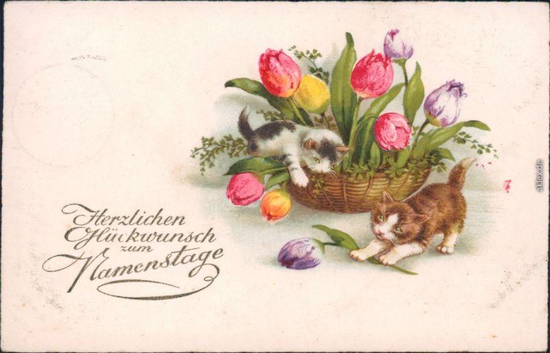 Glückwunsch - Namenstag: Katzen spielen im Blumenkorb 1931 Goldrand