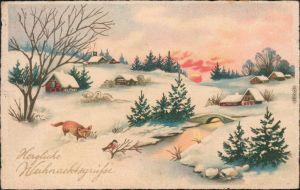 Glückwunsch/Grußkarten: Weihnachten - Dorf in Winterlandschaft 1934