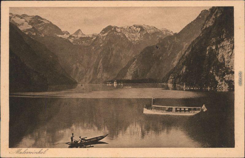Ansichtskarte Schönau am Königssee Königssee vom Malerwinkel, Boote 1926