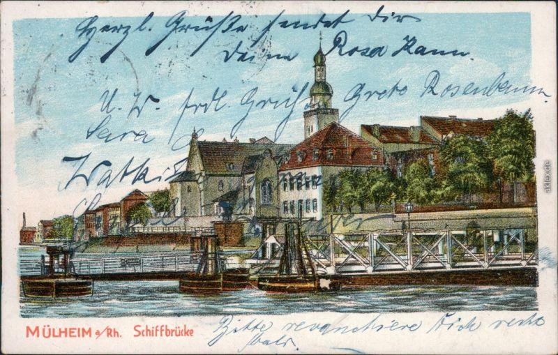 Ansichtskarte Mühlheim-Ruhr Schiffbrücke Künstlerkarte 1909