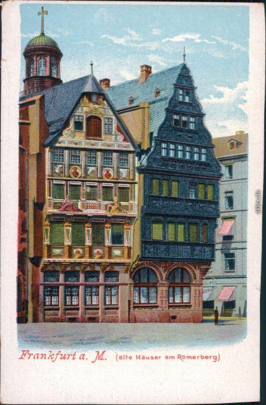 Ansichtskarte Frankfurt am Main alte Häuser am Römerberg 1908