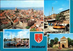 Stralsund Panorama-Ansicht, Meeresmuseum für Meereskunde, Hafen g1982