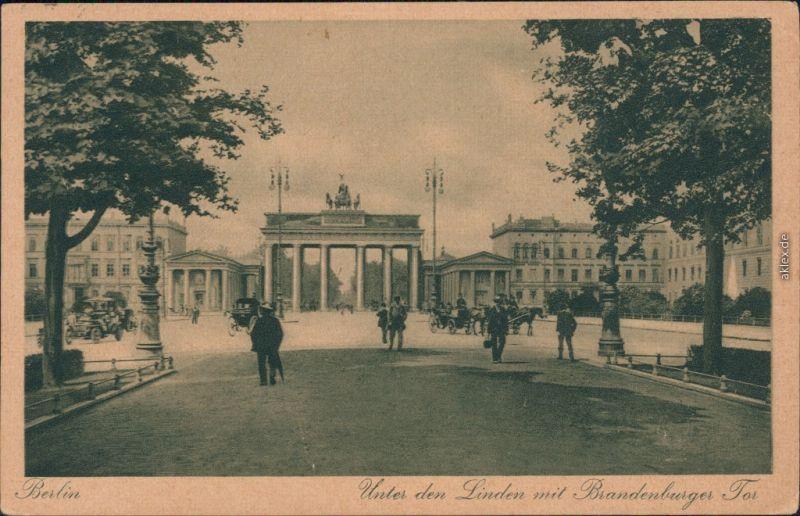 Ansichtskarte Mitte-Berlin Unter den Linden mit Brandenburger Tor 1916
