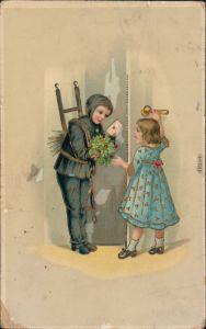 Glückwunsch - Neujahr/Sylvester: Schornsteinfeger, Brief, Mädchen 1915 Goldrand