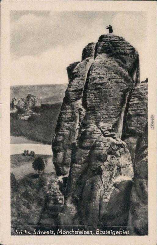 Ansichtskarte Rathen Sächsische Schweiz - Mönchsfelsen 1940