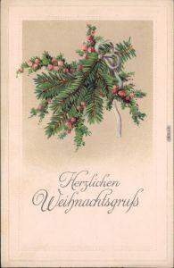 Ansichtskarte  Herzlichen Weihnachtsgruß - Tannenzweig 1913 Prägekarte