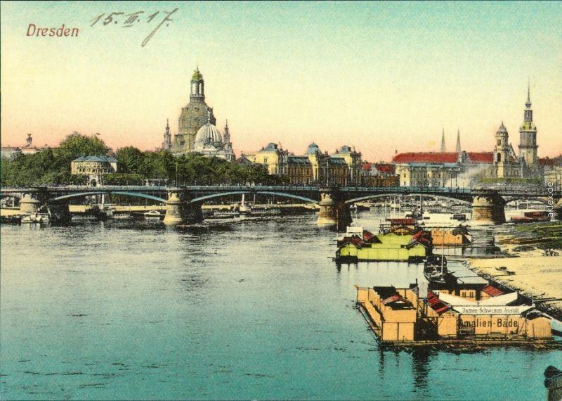 Altstadt-Dresden Repro - Carolabrücke Brücke, Blick auf die Altstadt 1900