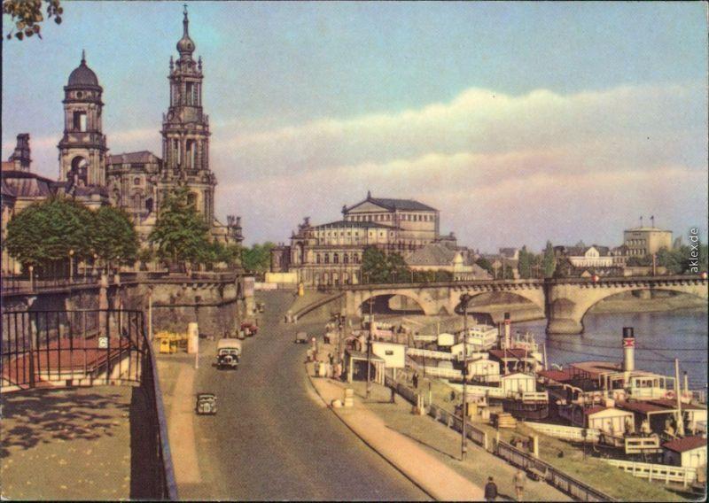 Innere Altstadt-Dresden Dampferanlegestelle, Hochwasser 1974/1975 1963