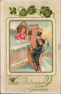 Glückwunsch - Neujahr: Schornsteinfeger, Frau, Kleeblatt 1912 Goldrand