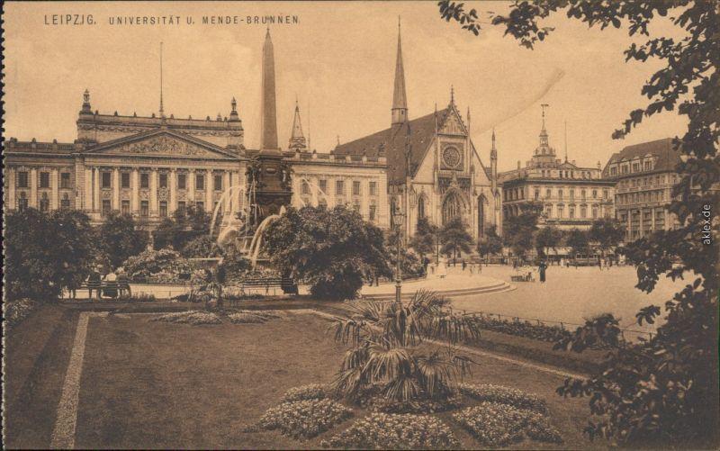 Ansichtskarte Leipzig Universität und Mende-Brunnen 1918