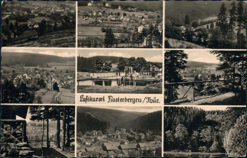 Finsterbergen-Friedrichroda Panorama, Teilansicht, Schwimmbad, See 1957