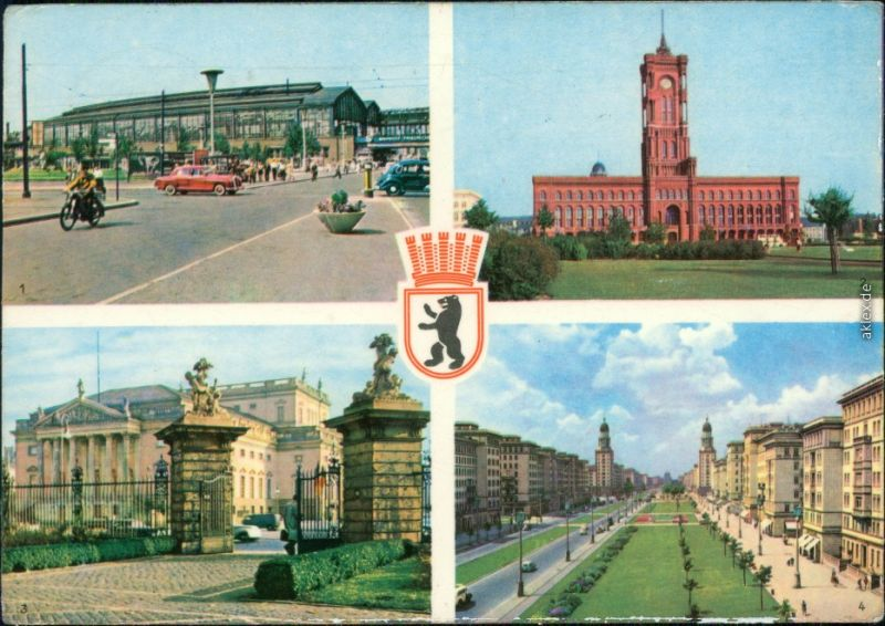 Berlin Bahnhof, Rotes Rathaus, Deutsche Staatsoper, Stalinallee 1959
