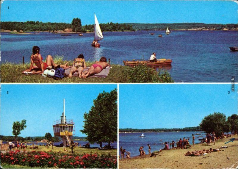 Groß Särchen Lohsa Łaz Knappensee mit Segelbooten, Beobachtungsturm 1982