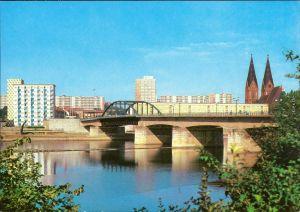 Frankfurt (Oder) Blick von der VR Polen, Oderbrücke 1986