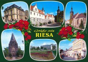 Ansichtskarte Riesa Kirche, Fußgängerzone, Park, Geschäfte 1999