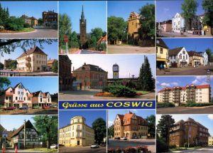 Coswig Sachsen Kirche, Markt, Wohnhäuser, Sparkasse, Geschäfte, Bahnhof 1995