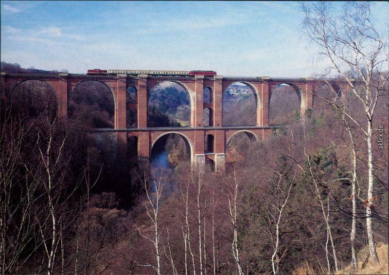 Ansichtskarte Jocketa-Pöhl Elstertalbrücke 1995