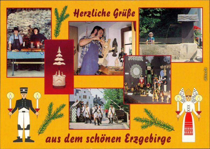 Ansichtskarte _Sachsen Grüße aus dem Erzgebirge, Volkskunst 1995