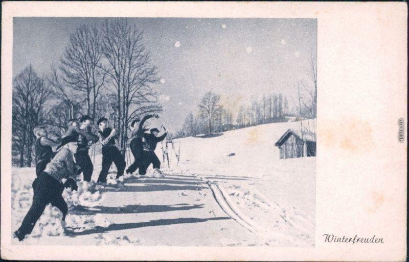 Ansichtskarte  Sport - Wintersport - Schneeballwurf 1920