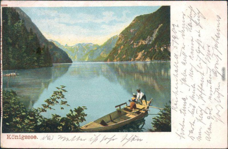 Ansichtskarte Schönau am Königssee Königssee mit Bootsfahrer 1902
