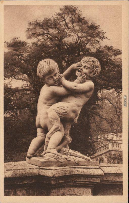 Ansichtskarte Würzburg Kgl. Hofgarten - Statue Kindergruppe 1928