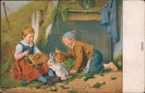 Kinder und Osterhasen  Glückwunsch/Grußkarten: Ostern / Oster-Karten 1920