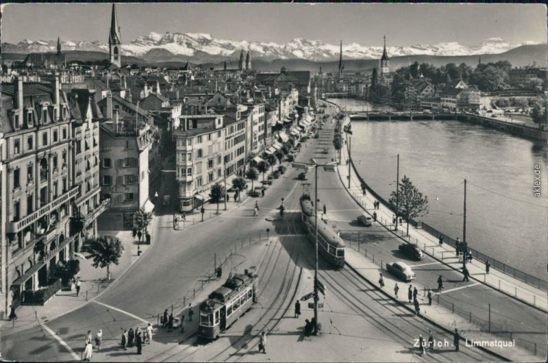 Ansichtskarte Zürich Limmatquai 1959