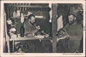 Ansichtskarte  Im Schützengraben - Ruhepause Militaria WK1   1916