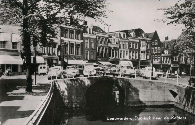 Ansichtskarte Leeuwarden Fluss, Brücke, Geschäfte 1963