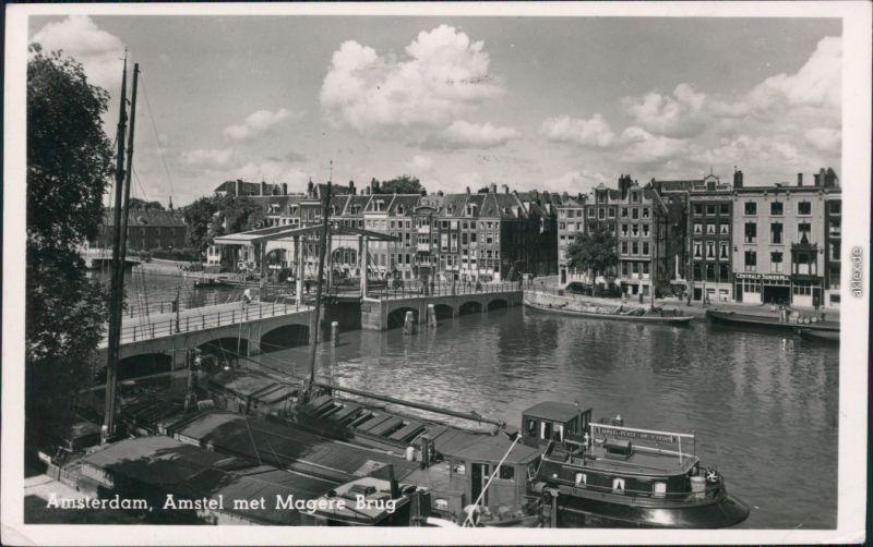 Ansichtskarte Amsterdam Amsterdam Brücke, Hafen 1951