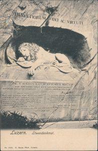 Ansichtskarte Luzern Lucerna Löwendenkmal 1910