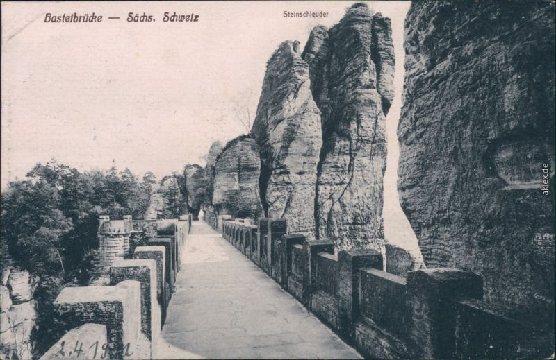 Ansichtskarte Lohmen (Sachsen) Basteibrücke - Steinschleuder 1922