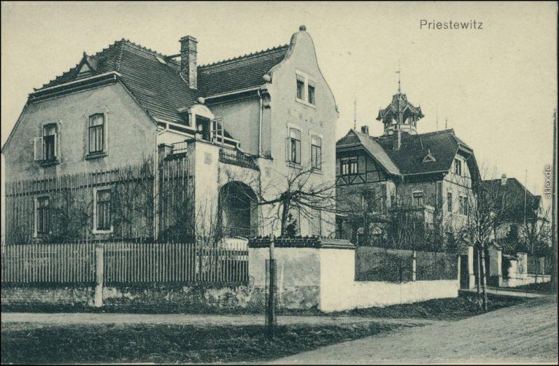 Priestewitz Straße - Villa b Großenhain Ortrand coloriert AK 1912