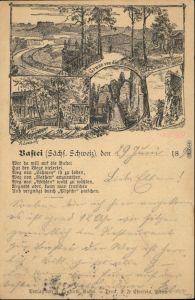 Rathen Bastei - Vorläufer AK b Bad Schandau Sächsische Schweiz 1894
