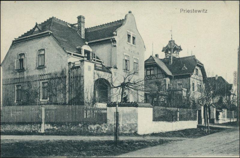 Ansichtskarte Priestewitz Villa - Straßenpartie b Ortrand Großenain 1912