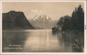 Luzern Lucerna Vierwaldstätter See mit Bürgenstock und Pilatus 1932
